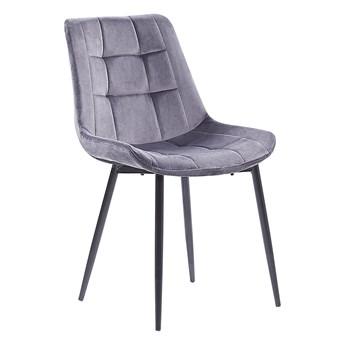 Zestaw 2 krzeseł szarych welurowych z czarnymi metalowymi nogami do jadalni styl nowoczesny minimalistyczny