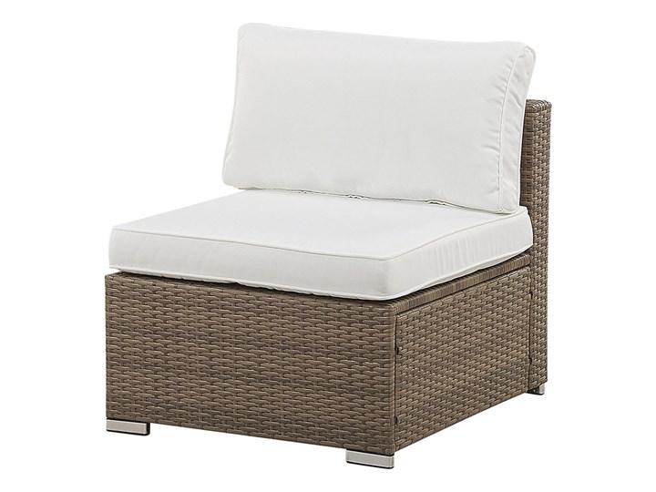 Zestaw mebli ogrodowych brązowy technorattan białe poduszki 6-osobowa sofa narożna stolik kawowy ze szklanym blatem Zestawy modułowe Zestawy kawowe Zestawy wypoczynkowe Aluminium Kolor Biały