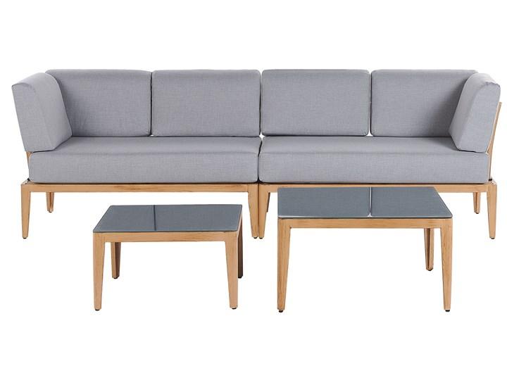 Ogrodowy zestaw wypoczynkowy szary aluminiowa rama poliesterowe poduszki 2 stoliki zestaw na taras Zestawy wypoczynkowe Tworzywo sztuczne Zestawy modułowe Aluminium Styl Nowoczesny Zawartość zestawu Sofa