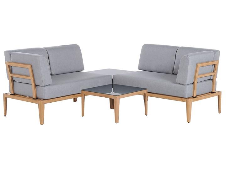 Ogrodowy zestaw wypoczynkowy szary aluminiowa rama poliesterowe poduszki 2 stoliki zestaw na taras Zestawy wypoczynkowe Aluminium Tworzywo sztuczne Zestawy modułowe Zawartość zestawu Sofa