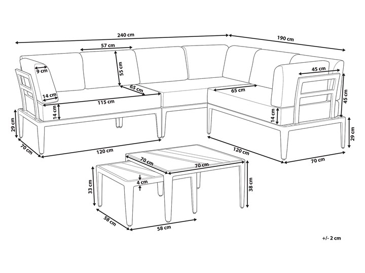 Ogrodowy zestaw wypoczynkowy szary aluminiowa rama poliesterowe poduszki 2 stoliki zestaw na taras Zestawy wypoczynkowe Tworzywo sztuczne Zestawy modułowe Aluminium Styl Nowoczesny