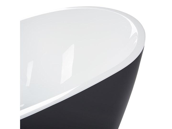 Wanna wolnostojąca czarna akrylowa 181 x 86 cm LED hydromasaż system przelewowy owalna retro Kolor Czarny Wolnostojące Kategoria Wanny