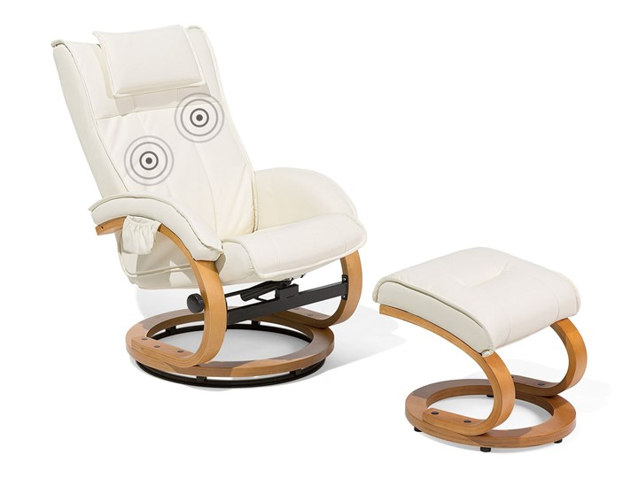 Fotel wypoczynkowy podgrzewany z masażem i podnóżkiem beżowy ekoskóra drewniana rama odchylane oparcie Pomieszczenie Salon Fotel masujący Drewno Skóra ekologiczna Styl Nowoczesny