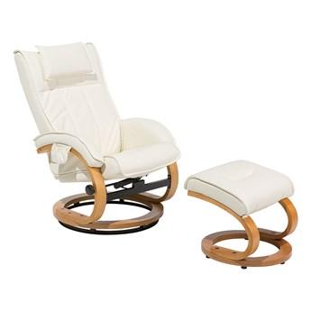 Fotel wypoczynkowy podgrzewany z masażem i podnóżkiem beżowy ekoskóra drewniana rama odchylane oparcie