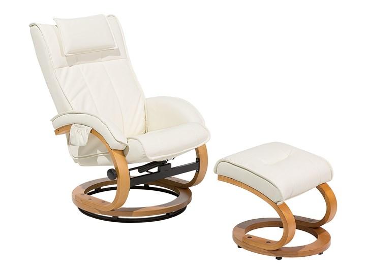 Fotel wypoczynkowy podgrzewany z masażem i podnóżkiem beżowy ekoskóra drewniana rama odchylane oparc ...