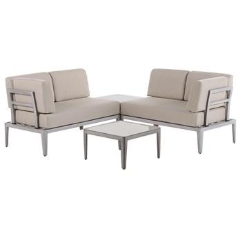 Ogrodowy zestaw wypoczynkowy beżowy aluminiowa rama poliesterowe poduszki 2 stoliki zestaw na taras