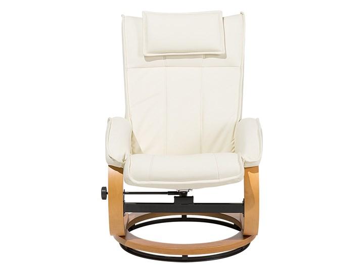 Fotel wypoczynkowy podgrzewany z masażem i podnóżkiem beżowy ekoskóra drewniana rama odchylane oparcie Skóra ekologiczna Styl Vintage Drewno Fotel masujący Styl Nowoczesny