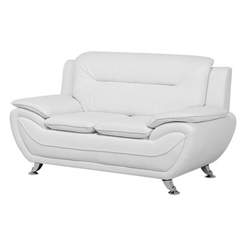 Sofa 2-osobowa biała tapicerowana ekoskórą srebrne nóżki grube oparcie retro design