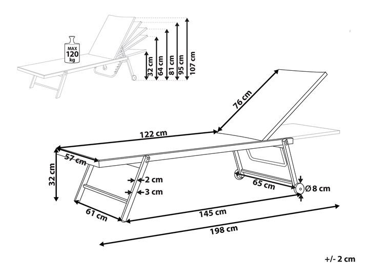Leżak ogrodowy czarny aluminium i siatka 198 x 61 cm regulowany zagłówek z kółkami ogród patio Styl Nowoczesny Z regulowanym oparciem Kategoria Leżaki ogrodowe