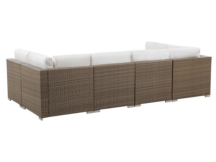 Zestaw mebli ogrodowych brązowy technorattan białe poduszki 6-osobowa sofa narożna stolik kawowy ze szklanym blatem Zawartość zestawu Narożnik Aluminium Zestawy modułowe Zestawy wypoczynkowe Zestawy kawowe Kolor Biały