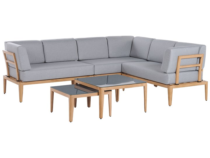 Ogrodowy zestaw wypoczynkowy szary aluminiowa rama poliesterowe poduszki 2 stoliki zestaw na taras