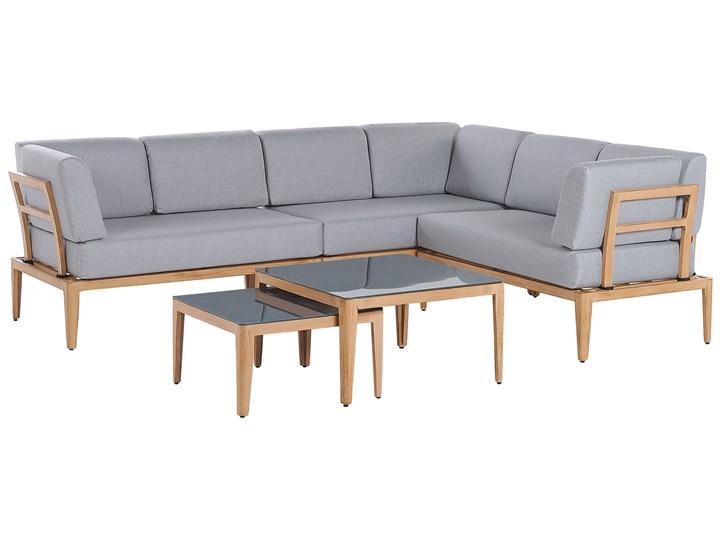 Ogrodowy zestaw wypoczynkowy szary aluminiowa rama poliesterowe poduszki 2 stoliki zestaw na taras Styl Nowoczesny Zestawy wypoczynkowe Zestawy modułowe Aluminium Tworzywo sztuczne Zawartość zestawu Sofa