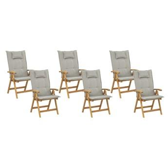 Zestaw 6 krzeseł ogrodowych jasne drewno lite akacjowe z beżowoszarymi poduszkami składane styl rustykalny