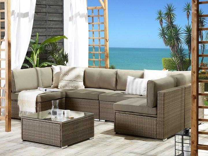 Zestaw mebli ogrodowych brązowy technorattan białe poduszki 6-osobowa sofa narożna stolik kawowy ze szklanym blatem Zestawy modułowe Zestawy kawowe Aluminium Zestawy wypoczynkowe Zawartość zestawu Narożnik