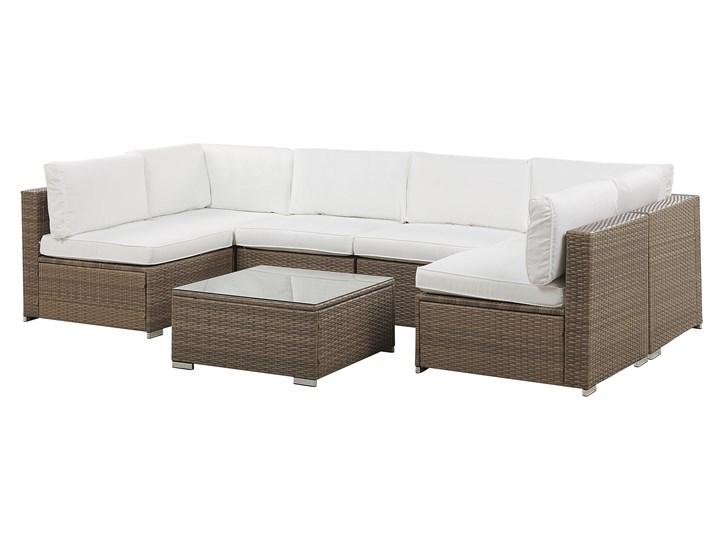 Zestaw mebli ogrodowych brązowy technorattan białe poduszki 6-osobowa sofa narożna stolik kawowy ze szklanym blatem Zestawy wypoczynkowe Zestawy modułowe Zestawy kawowe Aluminium Zawartość zestawu Narożnik