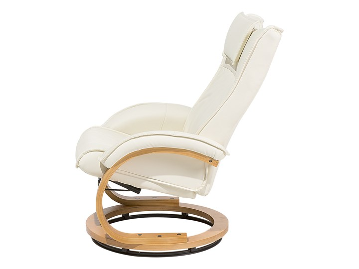 Fotel wypoczynkowy podgrzewany z masażem i podnóżkiem beżowy ekoskóra drewniana rama odchylane oparcie Drewno Fotel masujący Styl Nowoczesny Skóra ekologiczna Styl Vintage