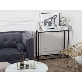 Konsola biały blat efekt marmuru czarne metalowe nogi hartowane szkło styl nowoczesny glam salon sypialnia korytarz