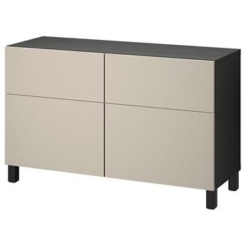 IKEA BESTÅ Kombinacja regałowa z drzw/szuf, Czarnybrąz/Lappviken/Stubbarp jasny szaro-beżowy, 120x42x74 cm