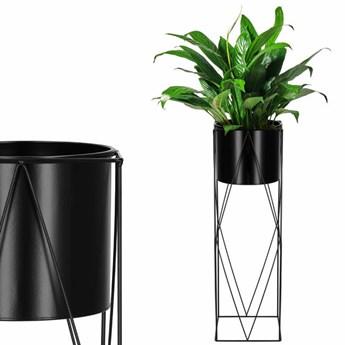 Stojący kwietnik 70 cm stojak z doniczką na kwiaty nowoczesny loft czarny mat
