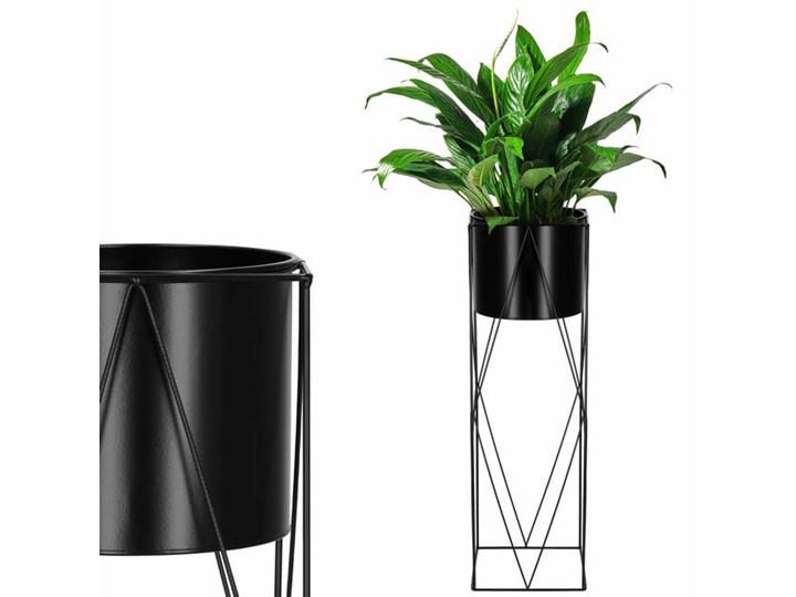 Stojący kwietnik 70 cm stojak z doniczką na kwiaty nowoczesny loft czarny mat Metal Kategoria Doniczki i kwietniki