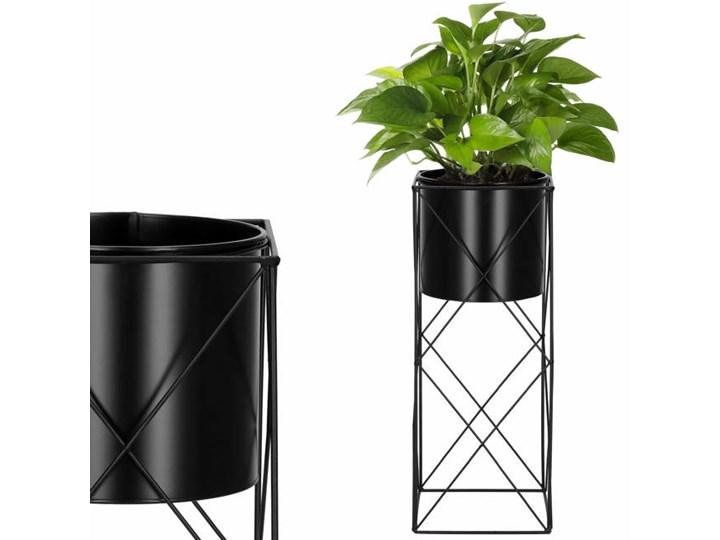 Stojący kwietnik 53 cm stojak z doniczką na kwiaty nowoczesny loft czarny mat