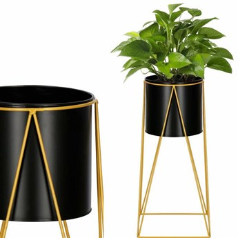 Stojący kwietnik 52 cm stojak z doniczką na kwiaty nowoczesny loft czarno-złoty mat