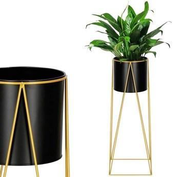 Stojący kwietnik 70 cm stojak z doniczką na kwiaty nowoczesny loft czarno-złoty mat