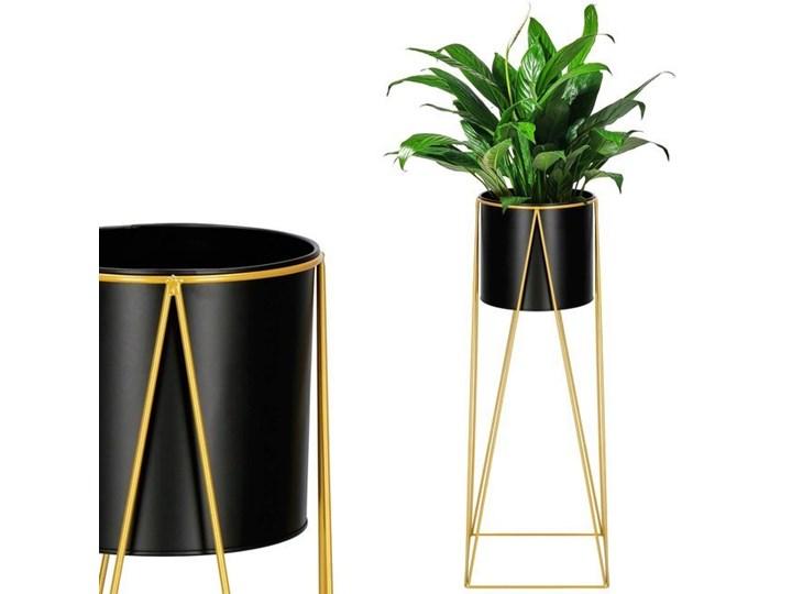 Stojący kwietnik 70 cm stojak z doniczką na kwiaty nowoczesny loft czarno-złoty mat Metal Kolor Czarny