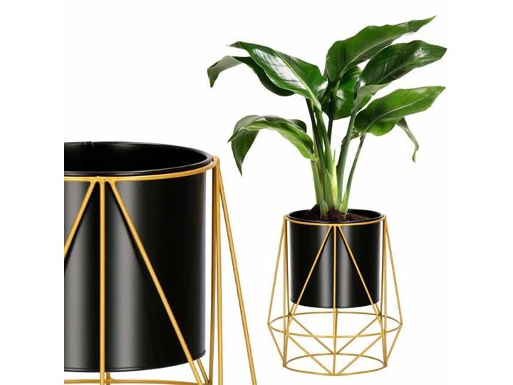 Stojący kwietnik 26,5 cm stojak z doniczką na kwiaty nowoczesny loft czarno-złoty mat Metal Kolor Czarny
