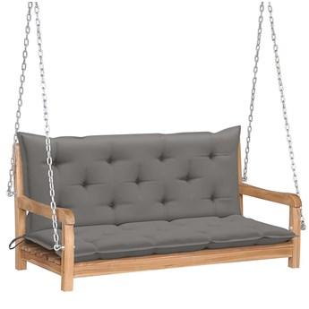 Drewniana huśtawka z szarą poduszką - Paloma 2X