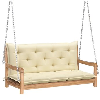 Drewniana huśtawka z kremową poduszką - Paloma 2X