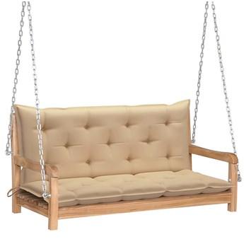 Drewniana huśtawka z beżową poduszką - Paloma 2X