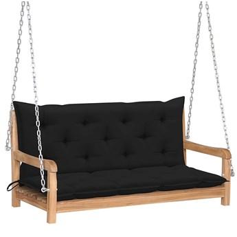 Drewniana huśtawka z czarną poduszką - Paloma 2X