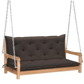 Drewniana huśtawka z poduszką taupe - Paloma 2X