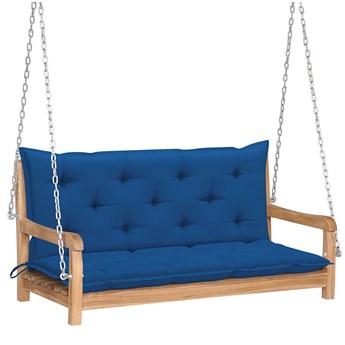 Drewniana huśtawka z niebieską poduszką - Paloma 2X