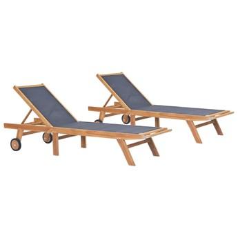 vidaXL Składane leżaki z kółkami, 2 szt., drewno tekowe i textilene