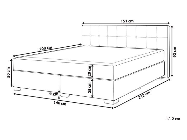 Łóżko kontynentalne czarne tapicerowane 140 x 200 cm dwuosobowe z materacem i pikowanym zagłówkiem Łóżko tapicerowane Kategoria Łóżka do sypialni