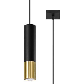 Czarno-złota lampa wisząca tuba - EXX244-Loper