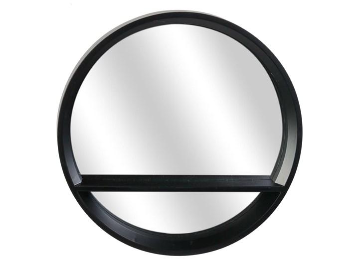 Czarne lustro z półką - Shimi Okrągłe Styl Industrialny