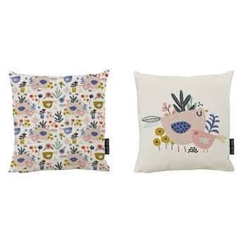 Zestaw 2 bawełnianych poduszek dekoracyjnych Butter Kings Bird Family, 50x50 cm