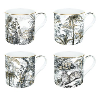 Zestaw kubków porcelanowych Coffeemania Retro Jungle Easy Life, 4 szt.