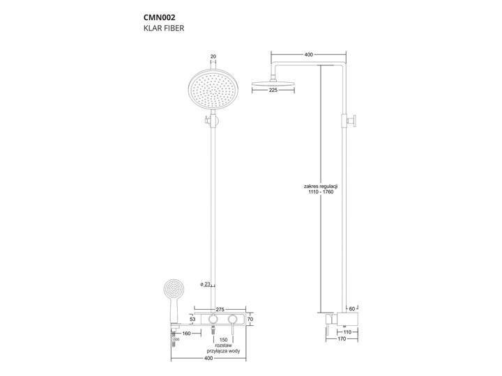 Natryskowa kolumna prysznicowa Corsan Klar Fiber CMN002 biała Wyposażenie Z baterią