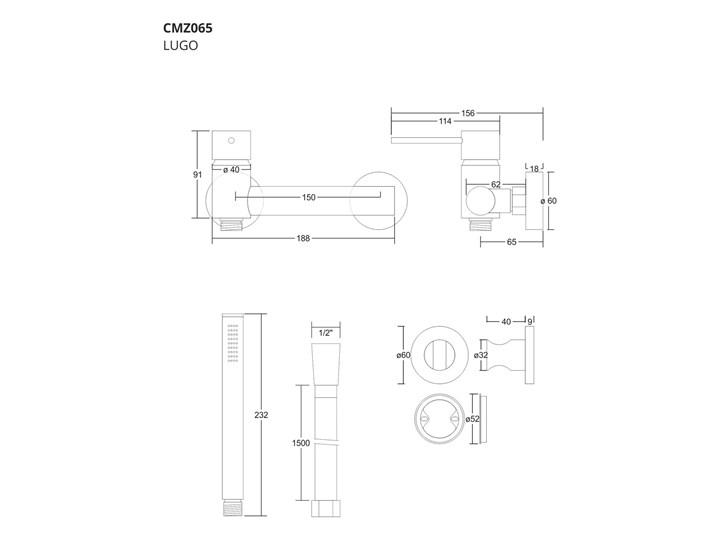 Zestaw prysznicowy Corsan CMZ065CH Lugo chromowana bateria ze słuchawką prysznicową Wyposażenie Z uchwytem Wyposażenie Z wężem