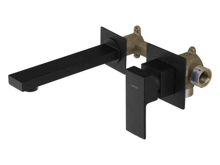 Bateria umywalkowa podtynkowa Corsan CMB3024BL czarna z wylewką Bateria ścienna Kolor Czarny Kolor Srebrny