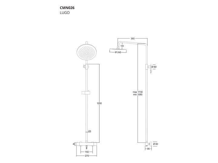 Kolumna prysznicowa Corsan Lugo CMN026 z termostatem Wyposażenie Z uchwytem Wyposażenie Z słuchawką