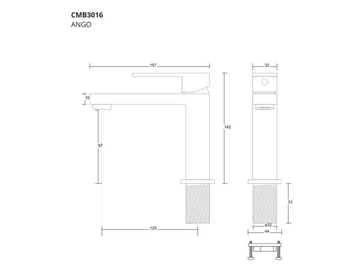Bateria umywalkowa Corsan CMB3016BL Ango czarna Kolor Czarny Bateria stojąca Kategoria Baterie łazienkowe