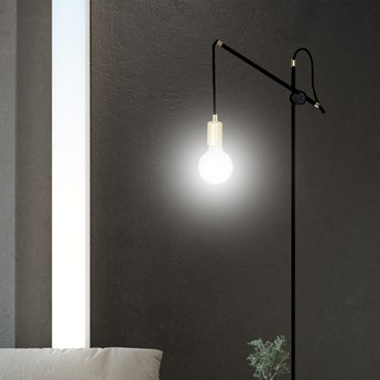 ARTEMIS LP1 BLACK 480/LP1 lampa podłogowa loft regulowana złote elementy