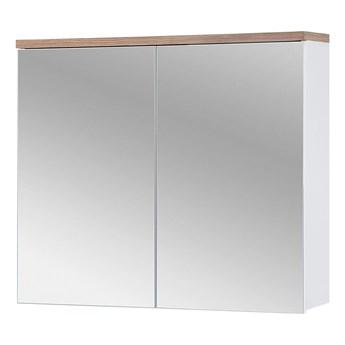 Bettso Szafka z lustrem 80 Bali White 2D / biel alpejska + dąb wotan
