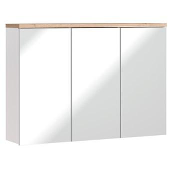 Bettso Szeroka szafka do łazienki z lustrem Bali White 3D / biel alpejska + dąb wotan