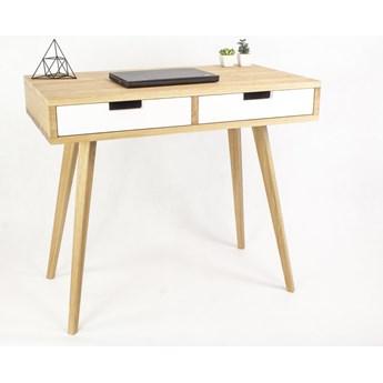Dębowe lite designerskie Biurko Lea z z białymi szufladami w stylu skandynawskim, nowoczesne